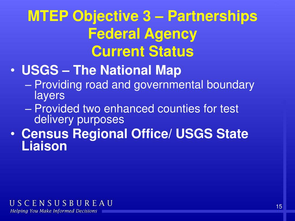 MTEP Objective 3 – Partnerships Federal Agency