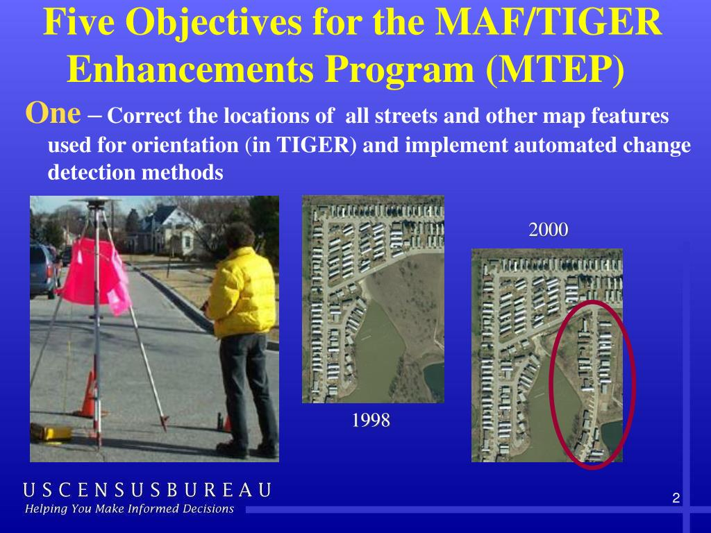 Five Objectives for the MAF/TIGER