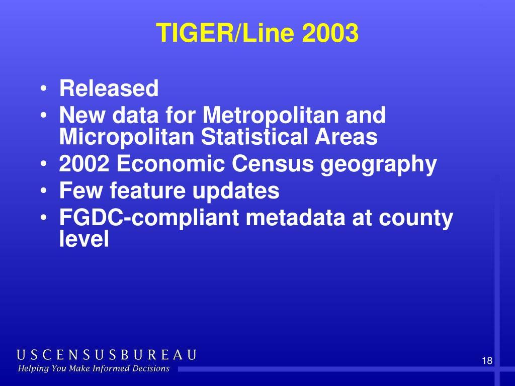 TIGER/Line 2003
