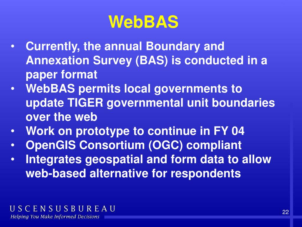 Currently, the annual Boundary and Annexation Survey (BAS) is conducted in a paper format