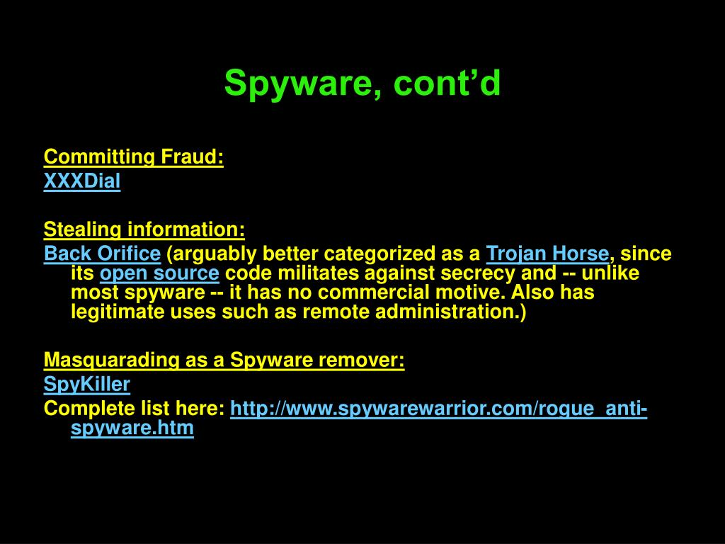Spyware, cont'd
