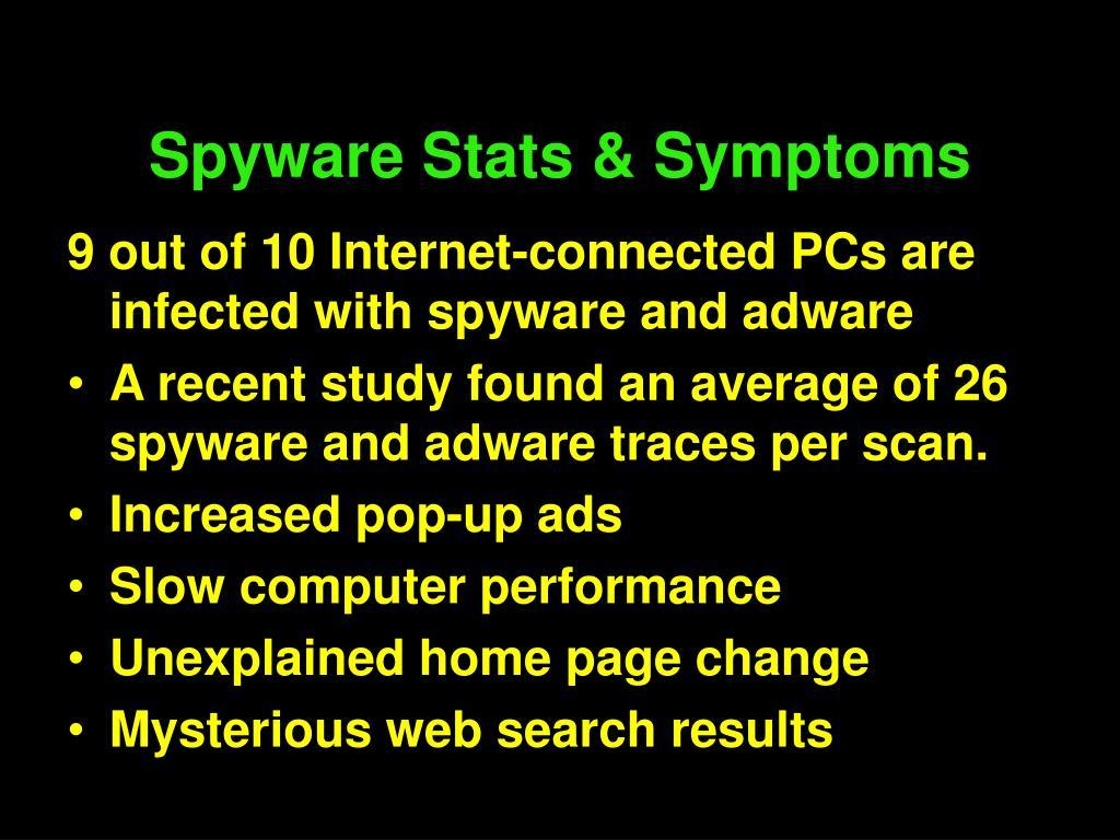 Spyware Stats & Symptoms