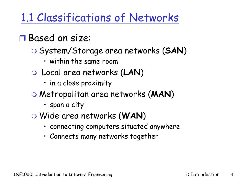 1.1 Classifications of Networks