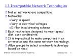 1 3 incompatible network technologies