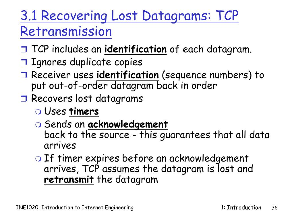 3.1 Recovering Lost Datagrams: TCP Retransmission