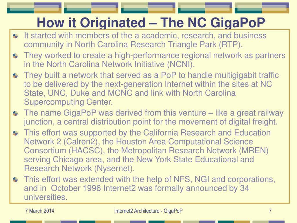 How it Originated – The NC GigaPoP