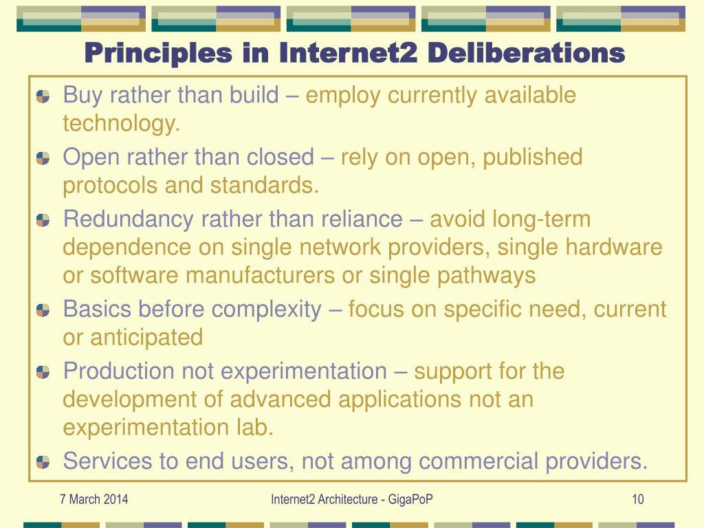 Principles in Internet2 Deliberations