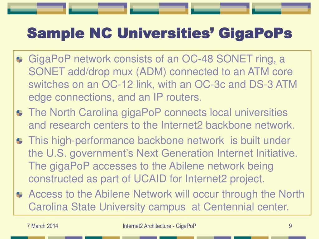 Sample NC Universities' GigaPoPs