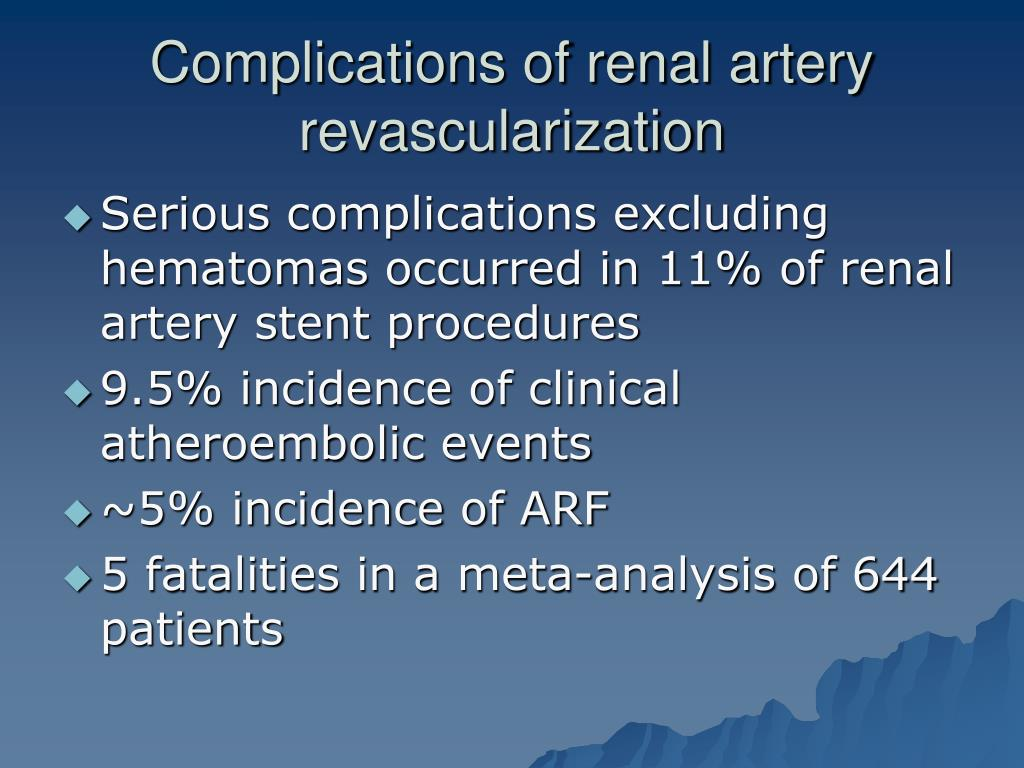 Complications of renal artery revascularization
