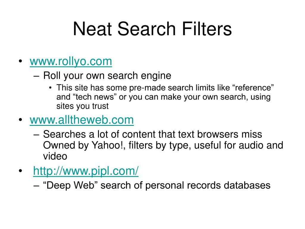 Neat Search Filters