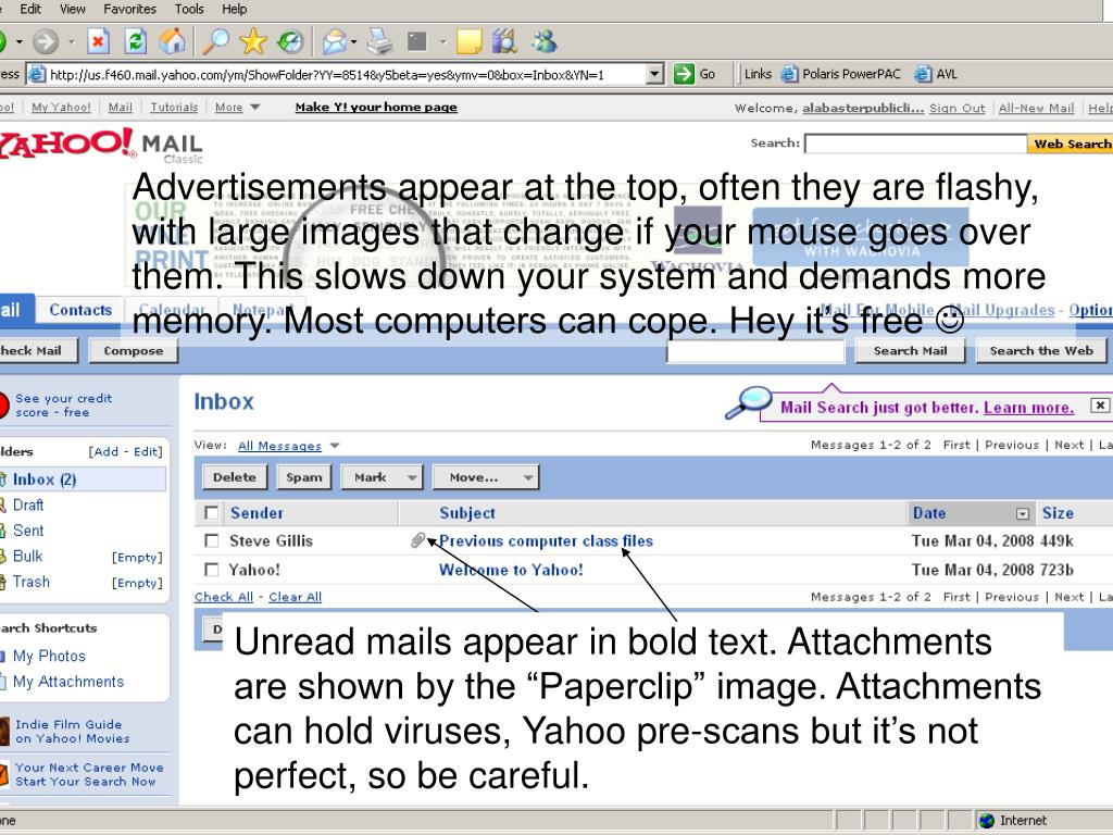 Advertisements appear at the top, often they are flashy, with large images that change if your mouse goes over them. This slows down your system and demands more memory. Most computers can cope. Hey it's free