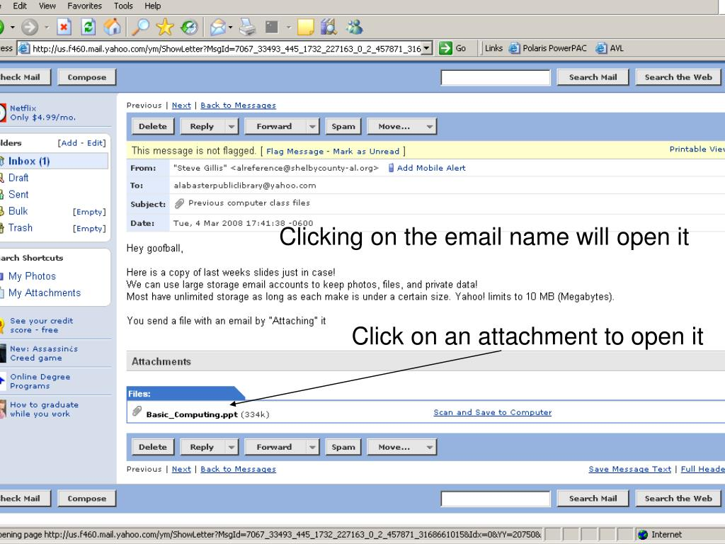 Clicking on the email name will open it