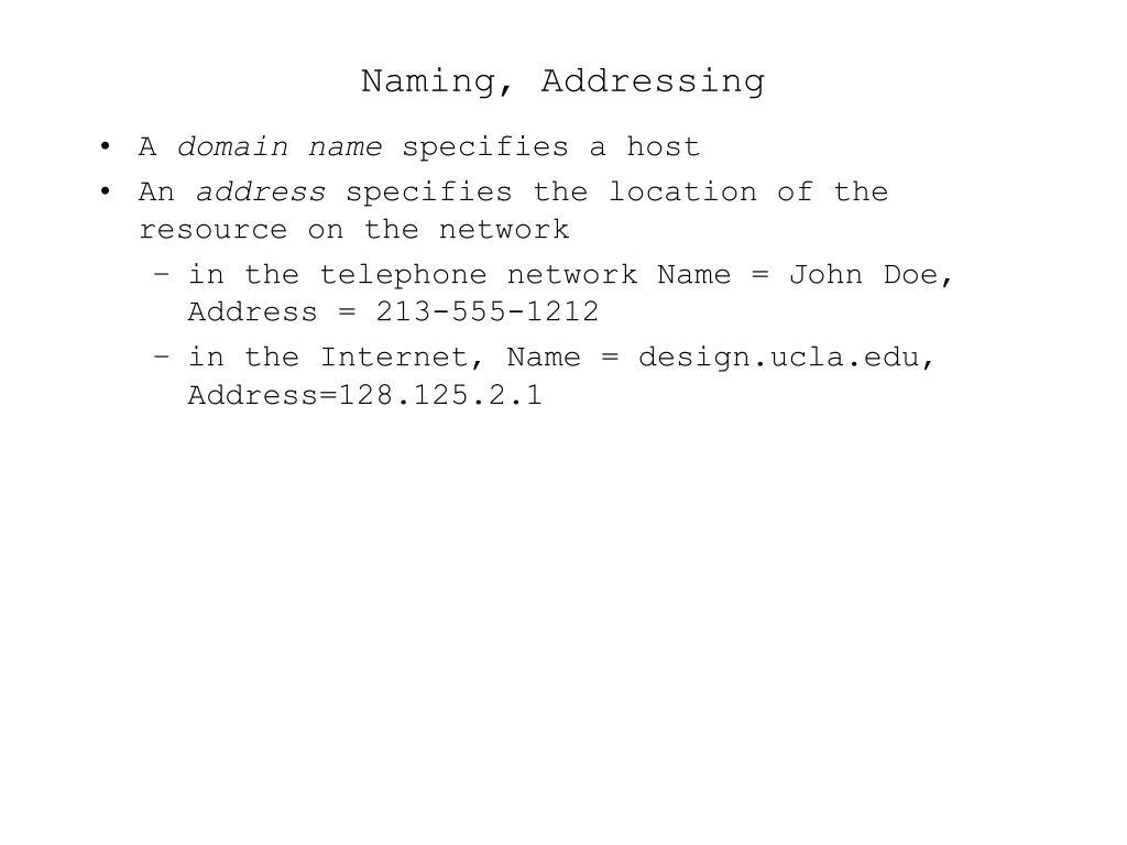 Naming, Addressing