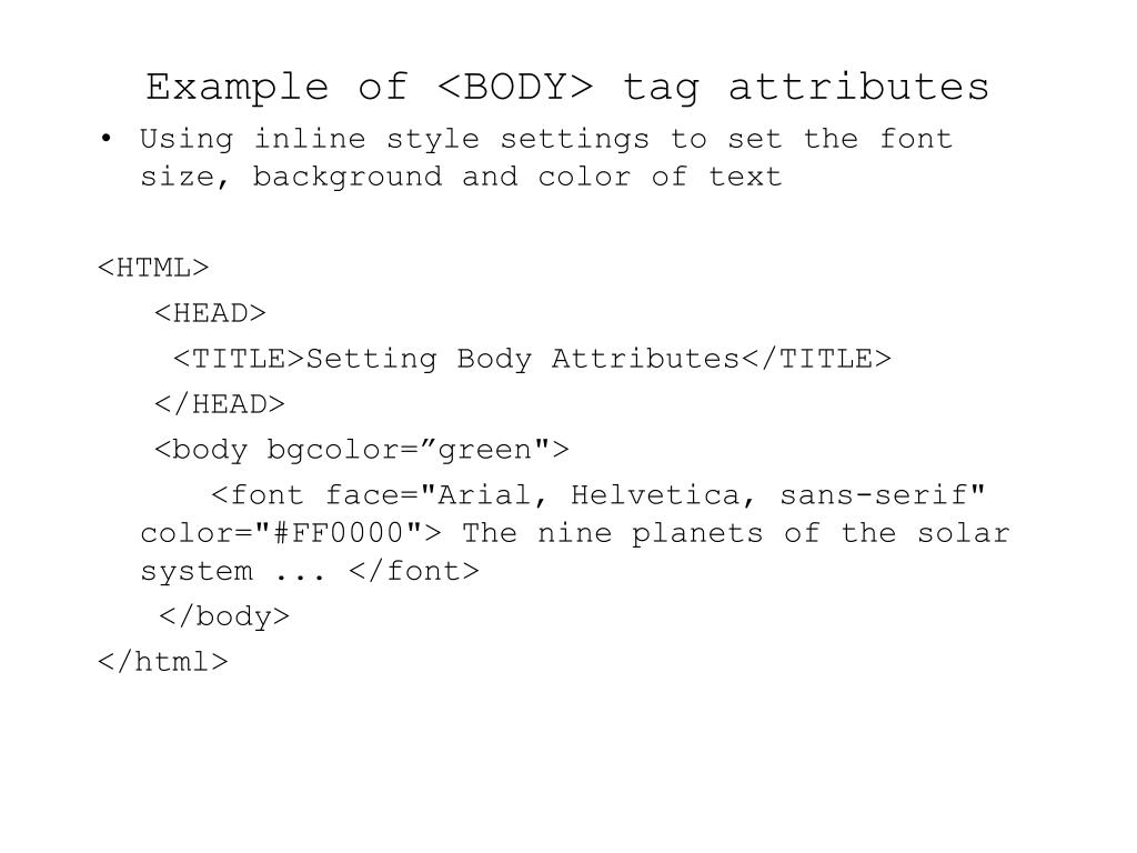 Example of <BODY> tag attributes