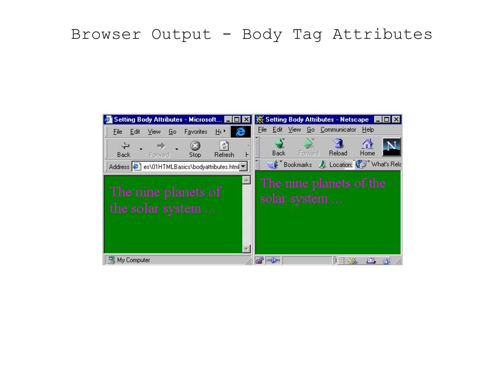 Browser Output - Body Tag Attributes