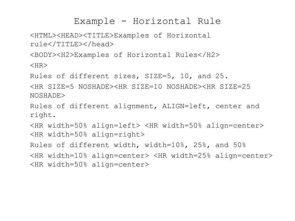 Example - Horizontal Rule