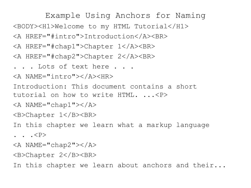 Example Using Anchors for Naming