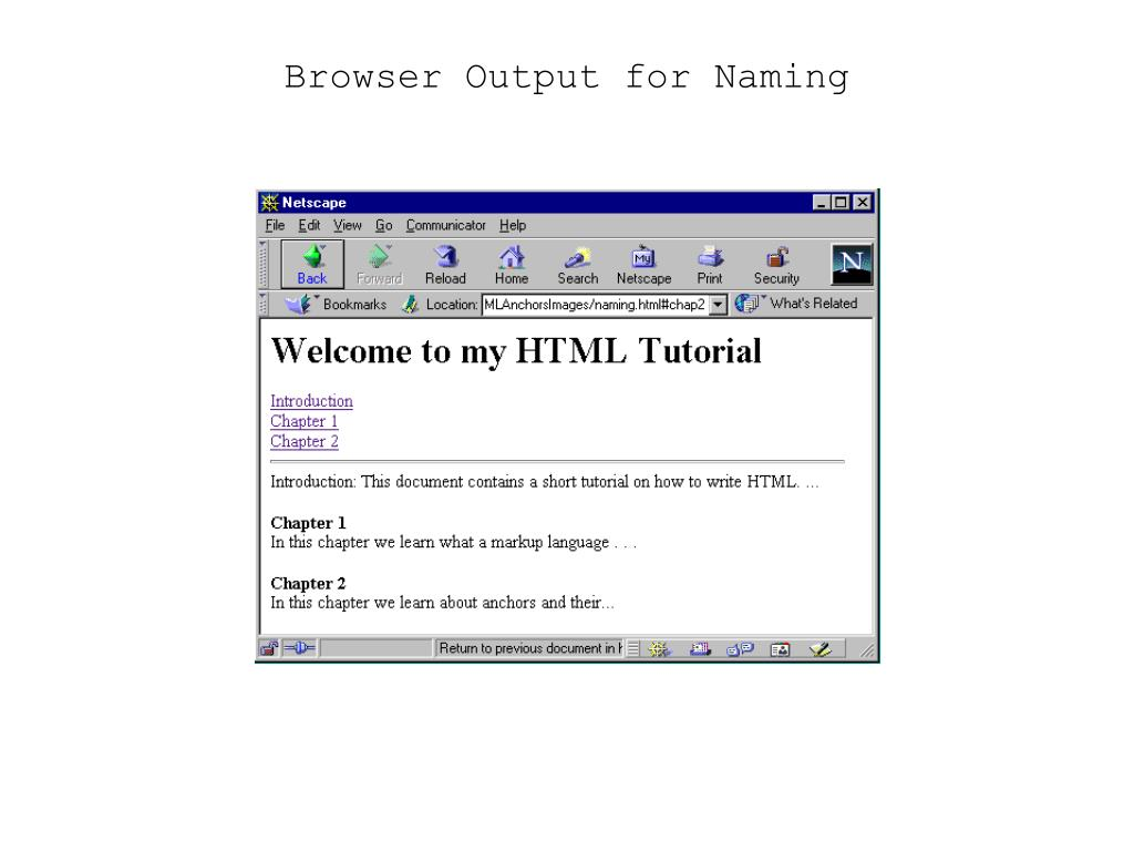 Browser Output for Naming