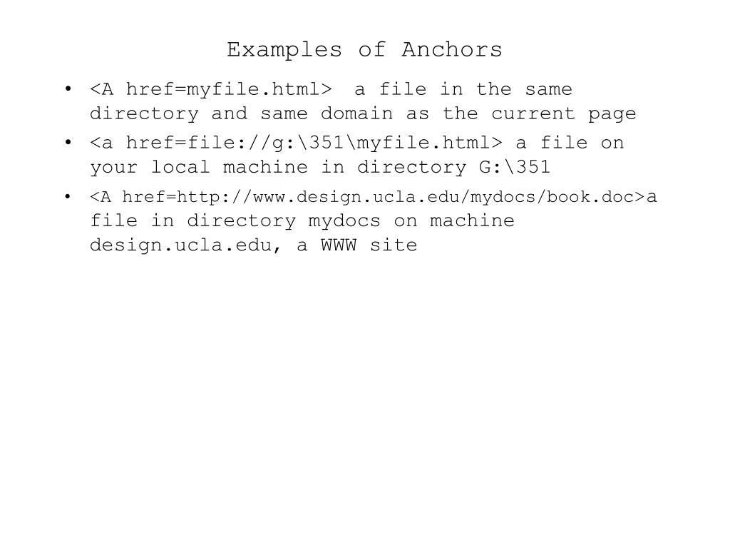 Examples of Anchors