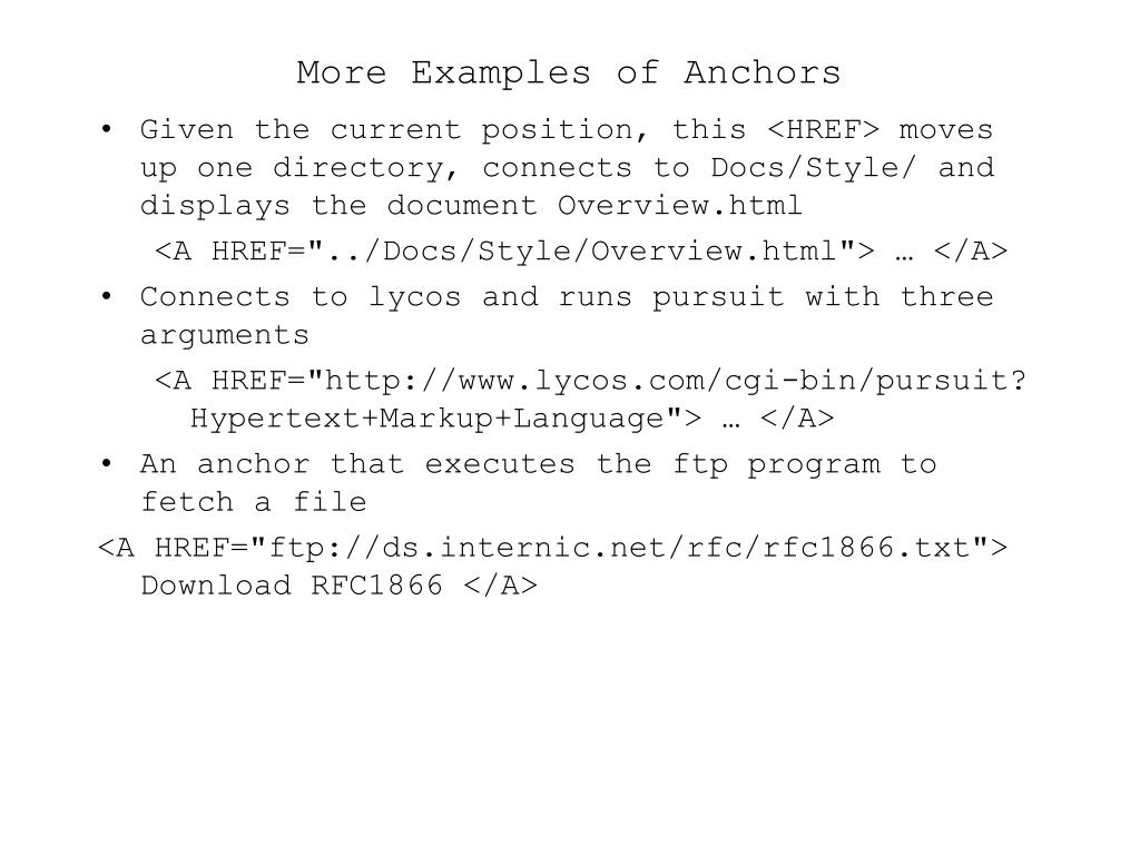 More Examples of Anchors