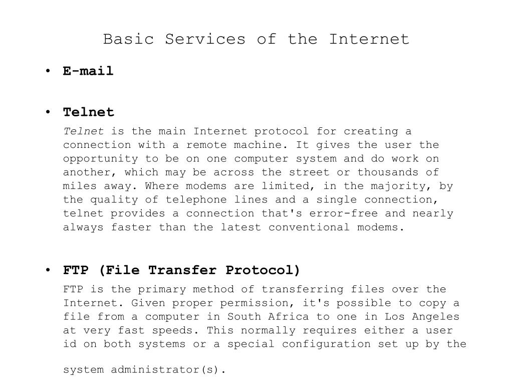 Basic Services of the Internet