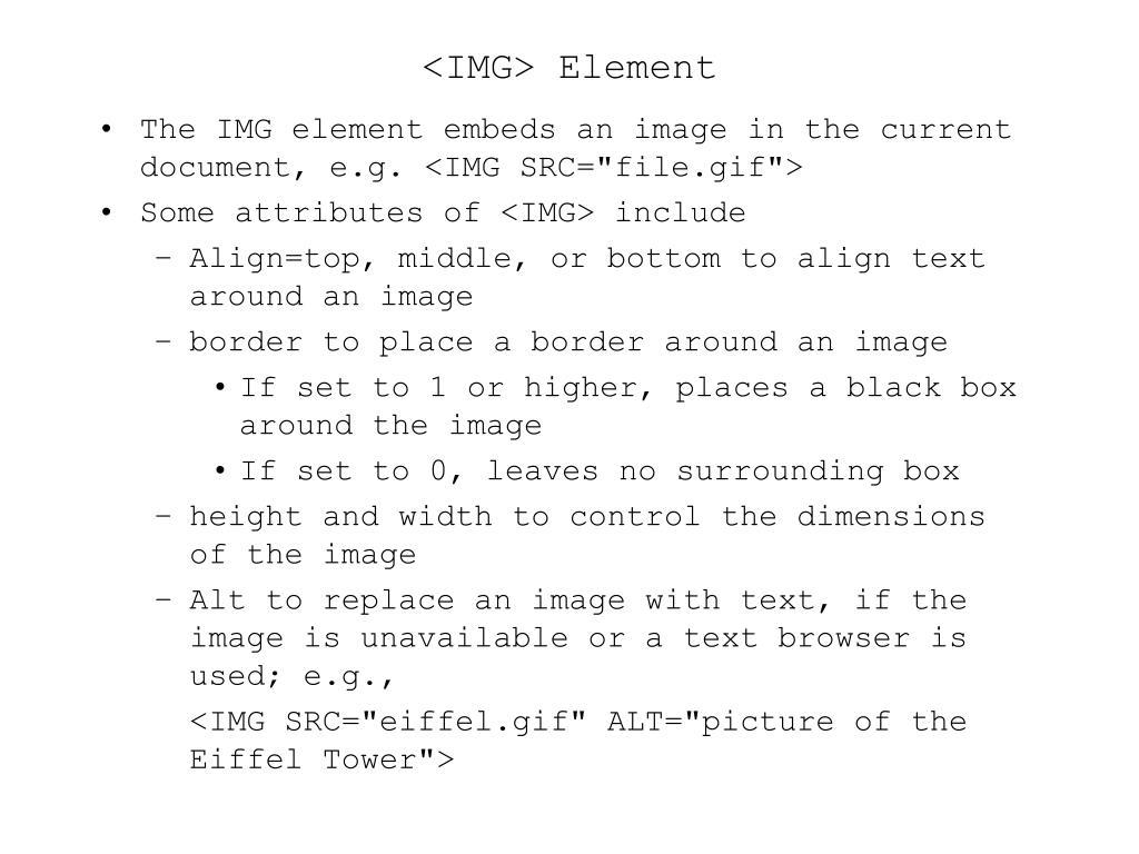 <IMG> Element
