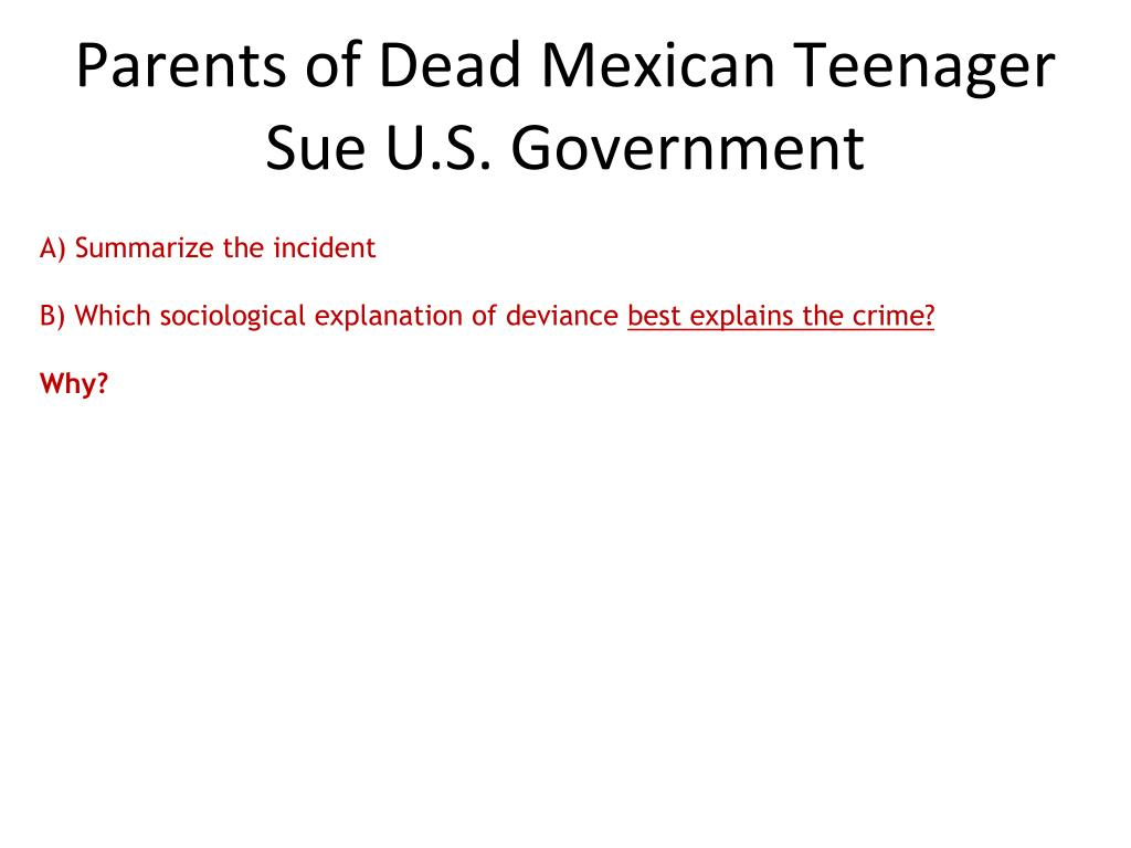 Parents of Dead Mexican Teenager Sue U.S. Government