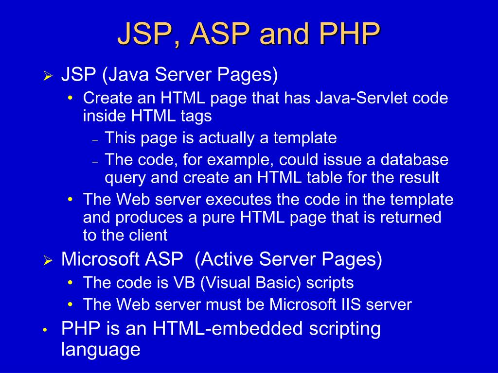 JSP, ASP and PHP