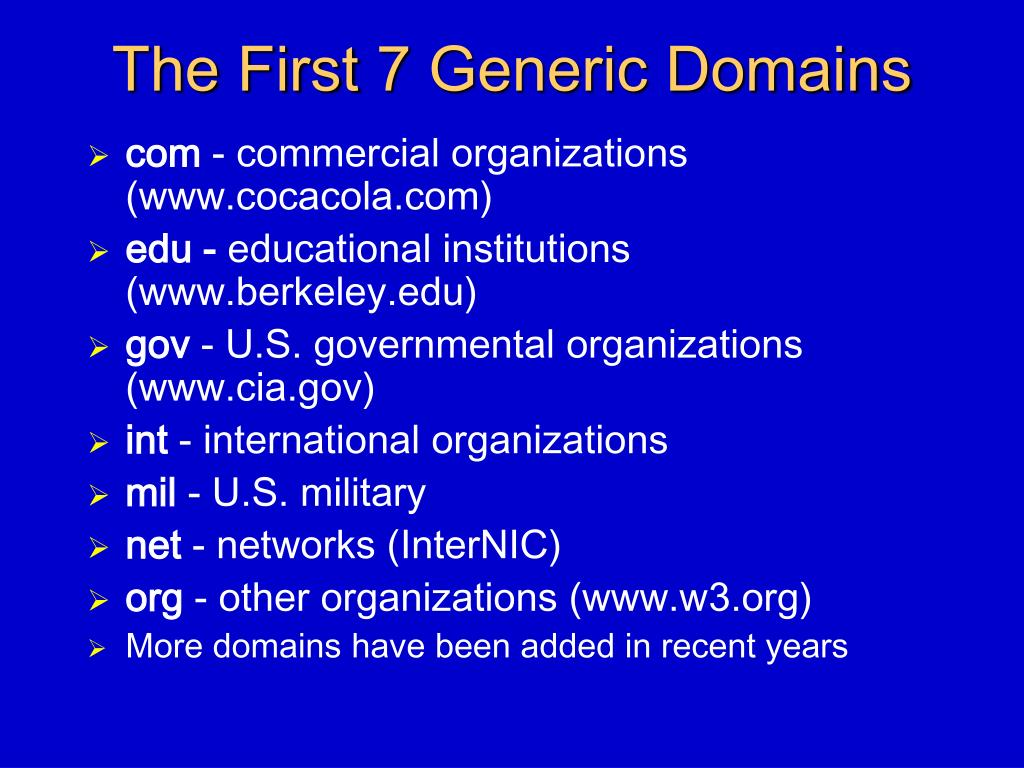 The First 7 Generic Domains