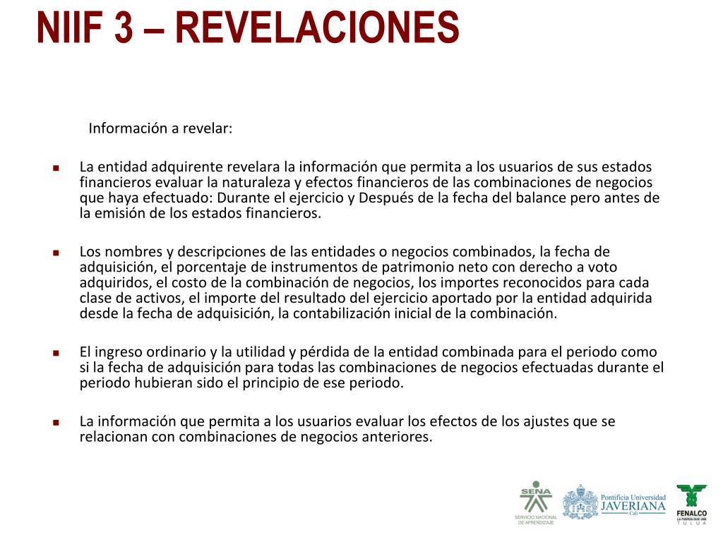 Información a revelar: