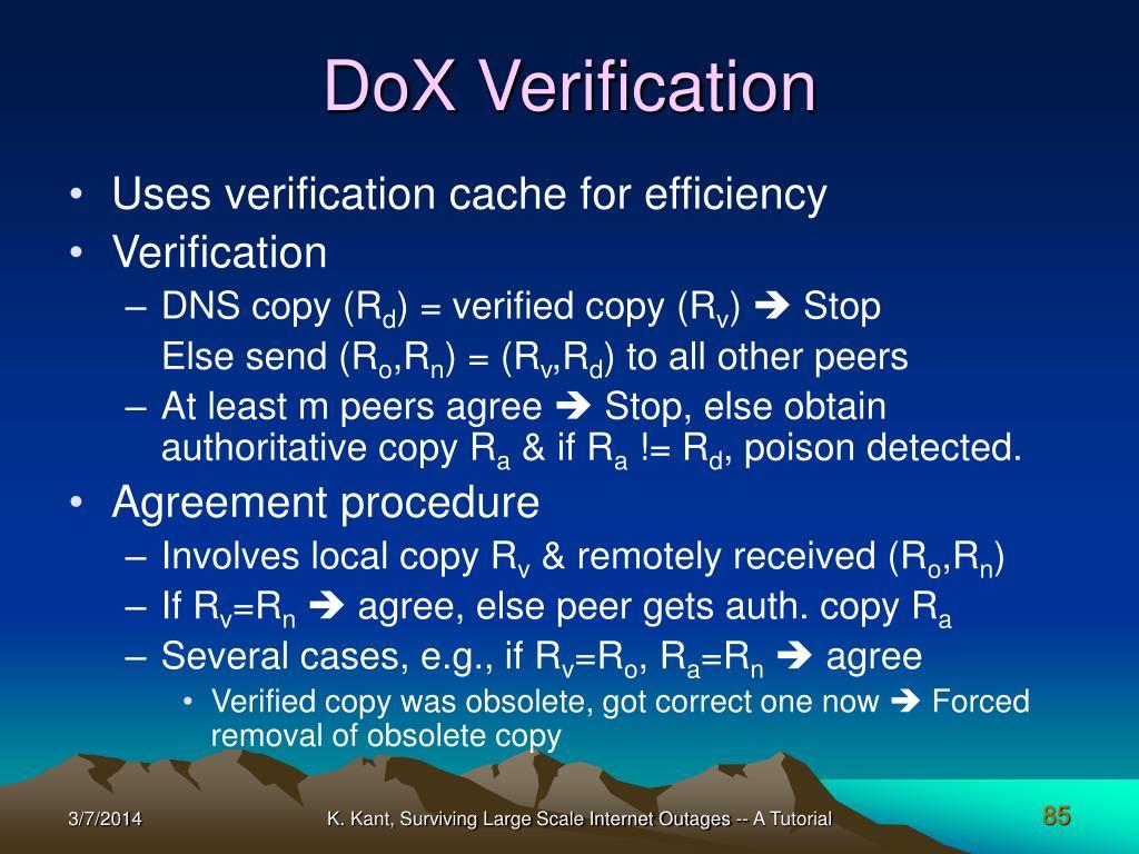 DoX Verification