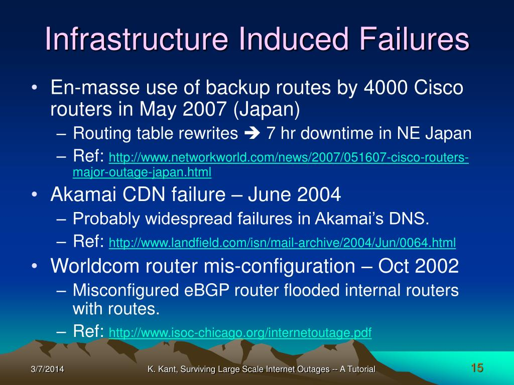 Infrastructure Induced Failures