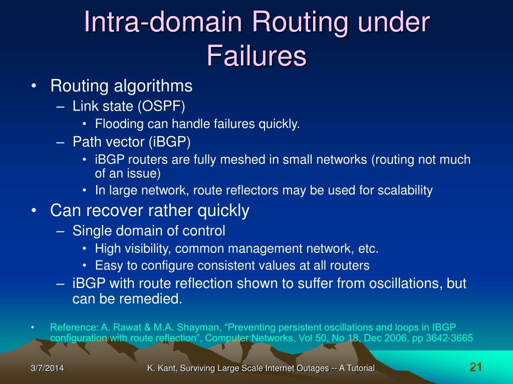 Intra-domain Routing under Failures