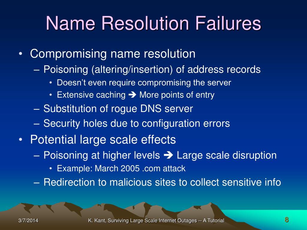 Name Resolution Failures