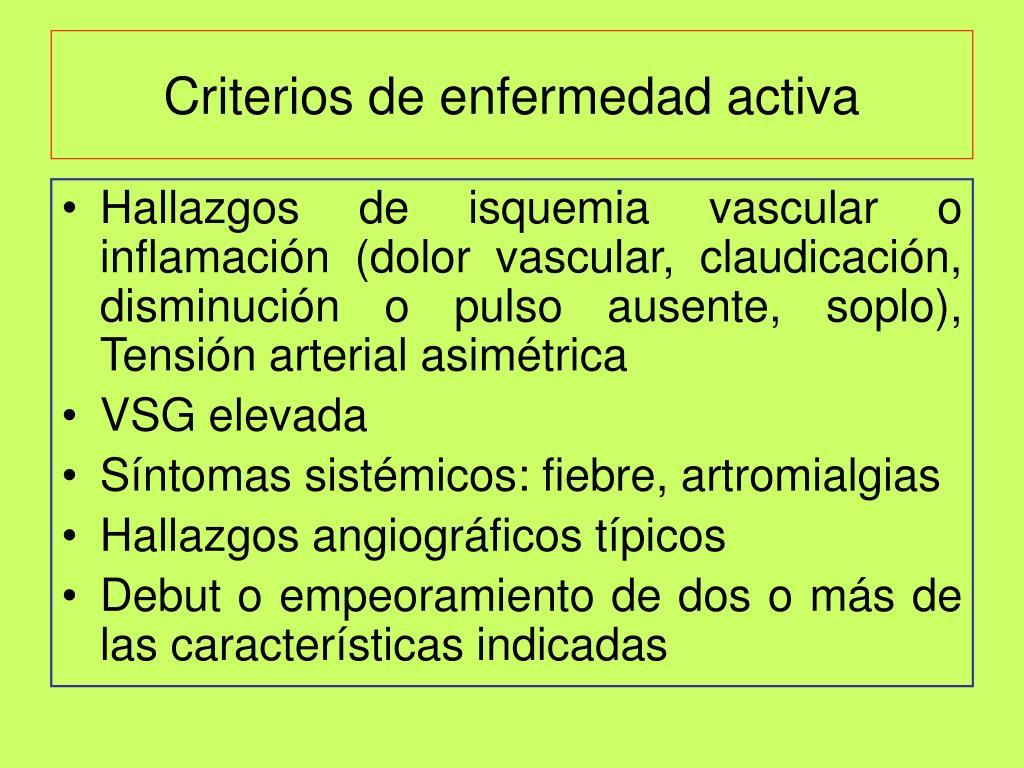 Criterios de enfermedad activa