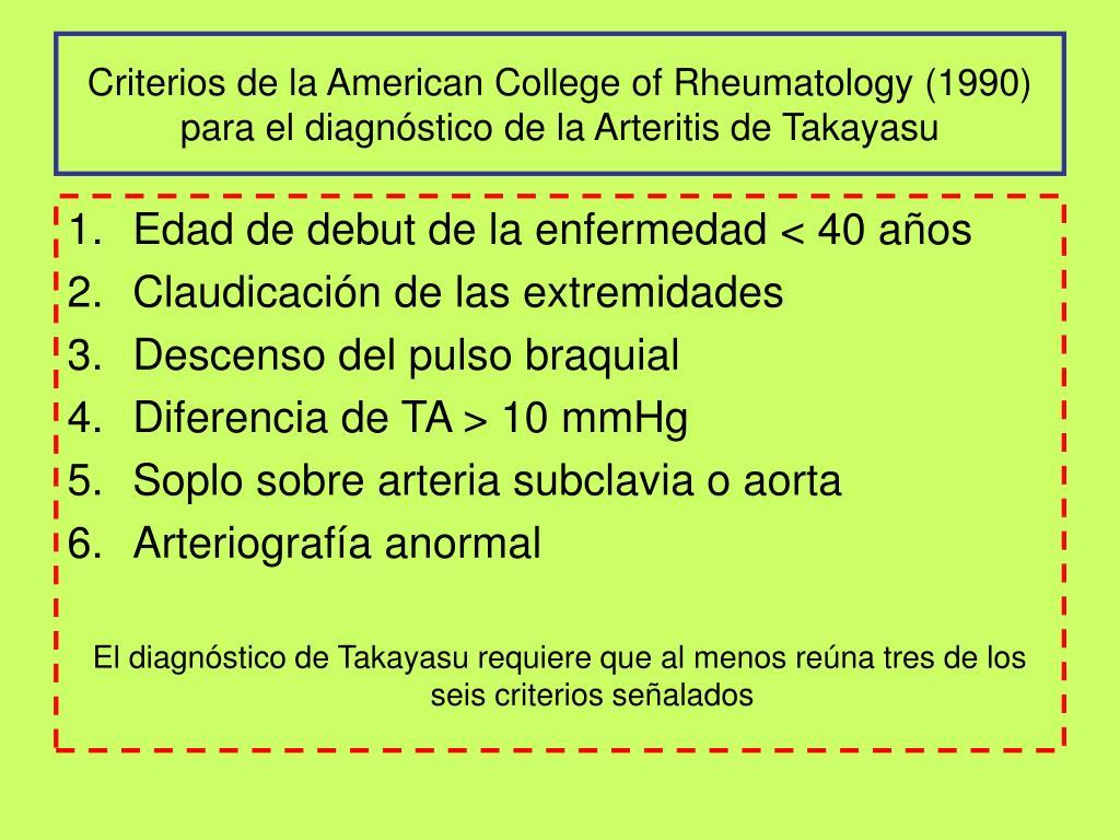 Criterios de la American College of Rheumatology (1990) para el diagnóstico de la Arteritis de Takayasu
