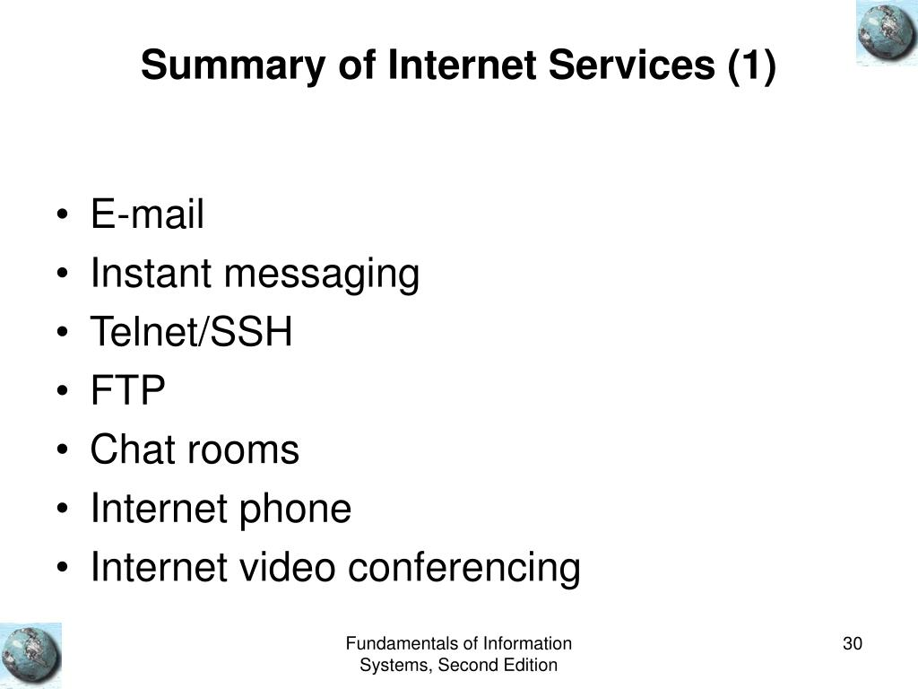 Summary of Internet Services (1)