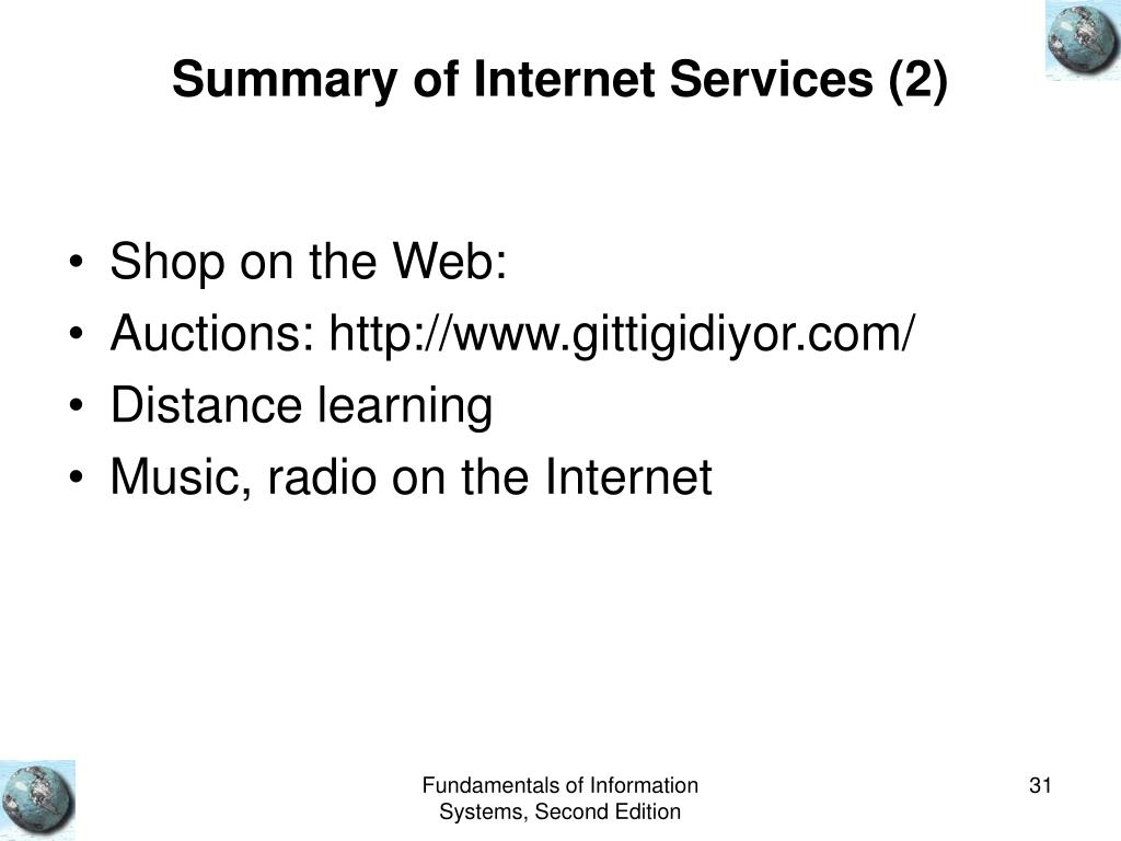 Summary of Internet Services (2)