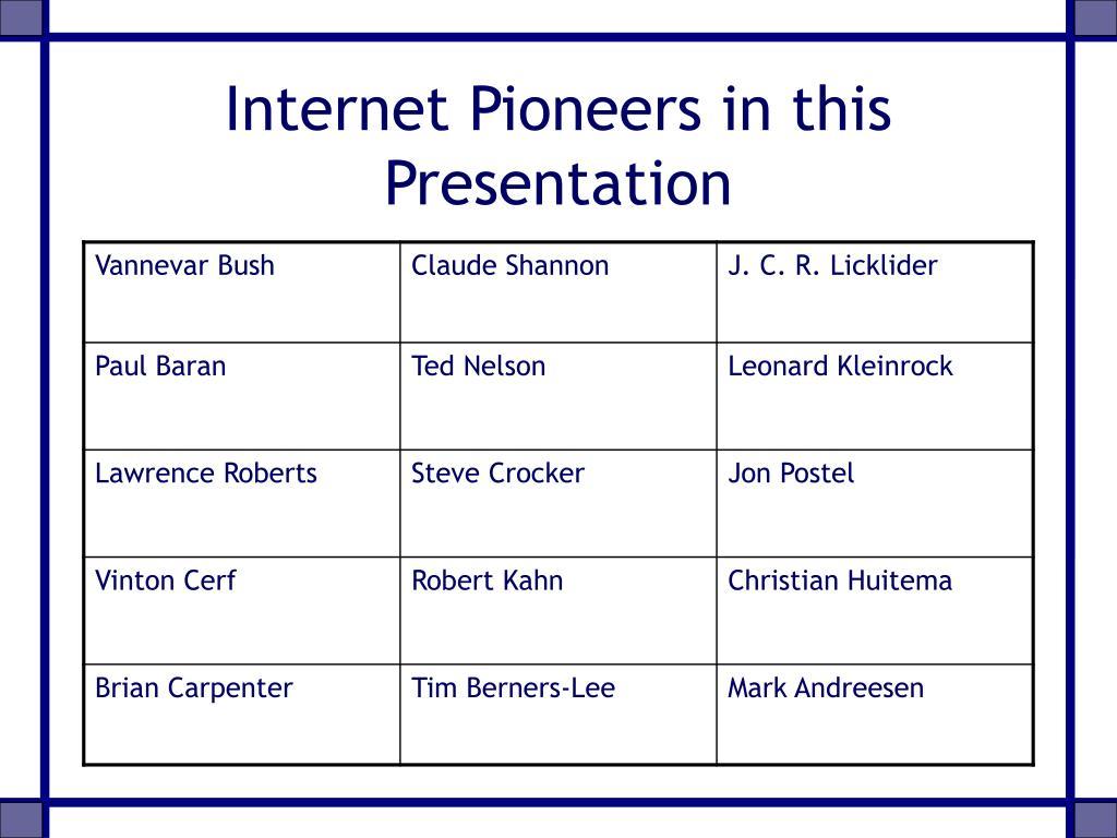 Internet Pioneers in this Presentation