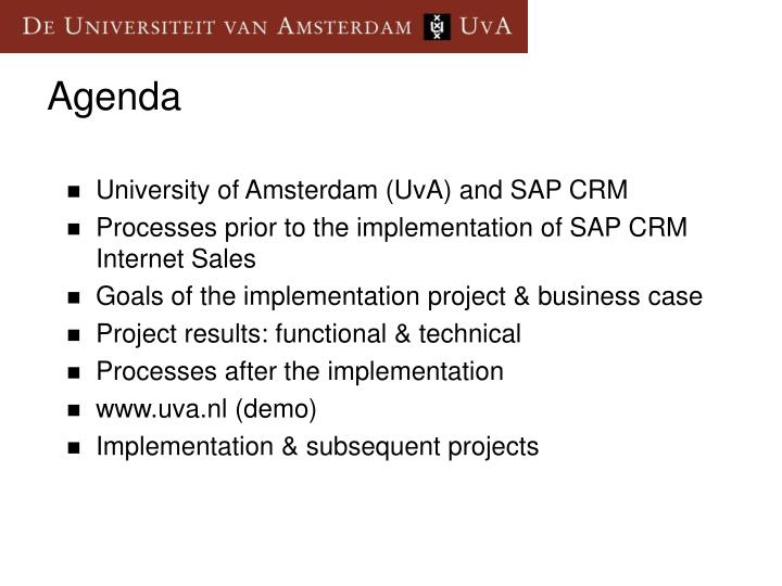 University of Amsterdam (UvA) and SAP CRM