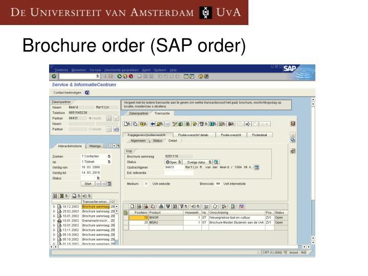 Brochure order (SAP order)
