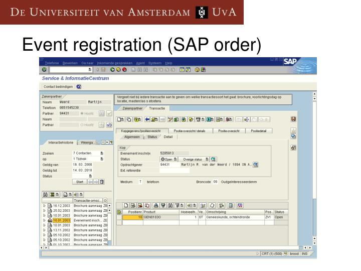 Event registration (SAP order)