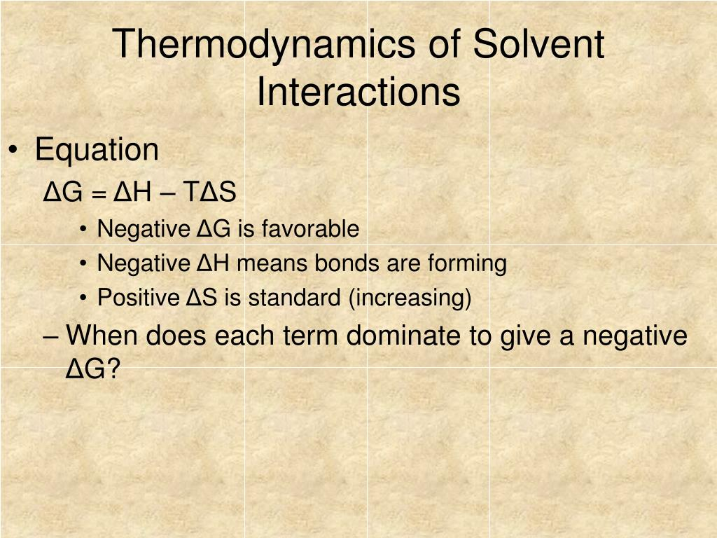Thermodynamics of Solvent Interactions