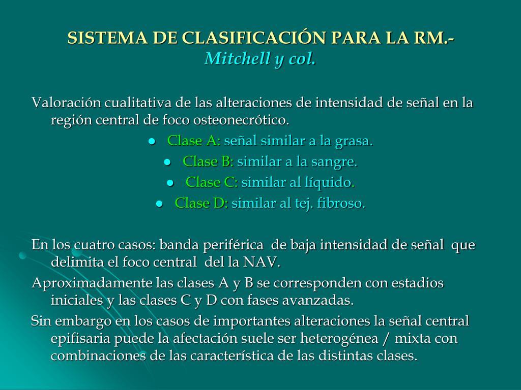 SISTEMA DE CLASIFICACIÓN PARA LA RM.-