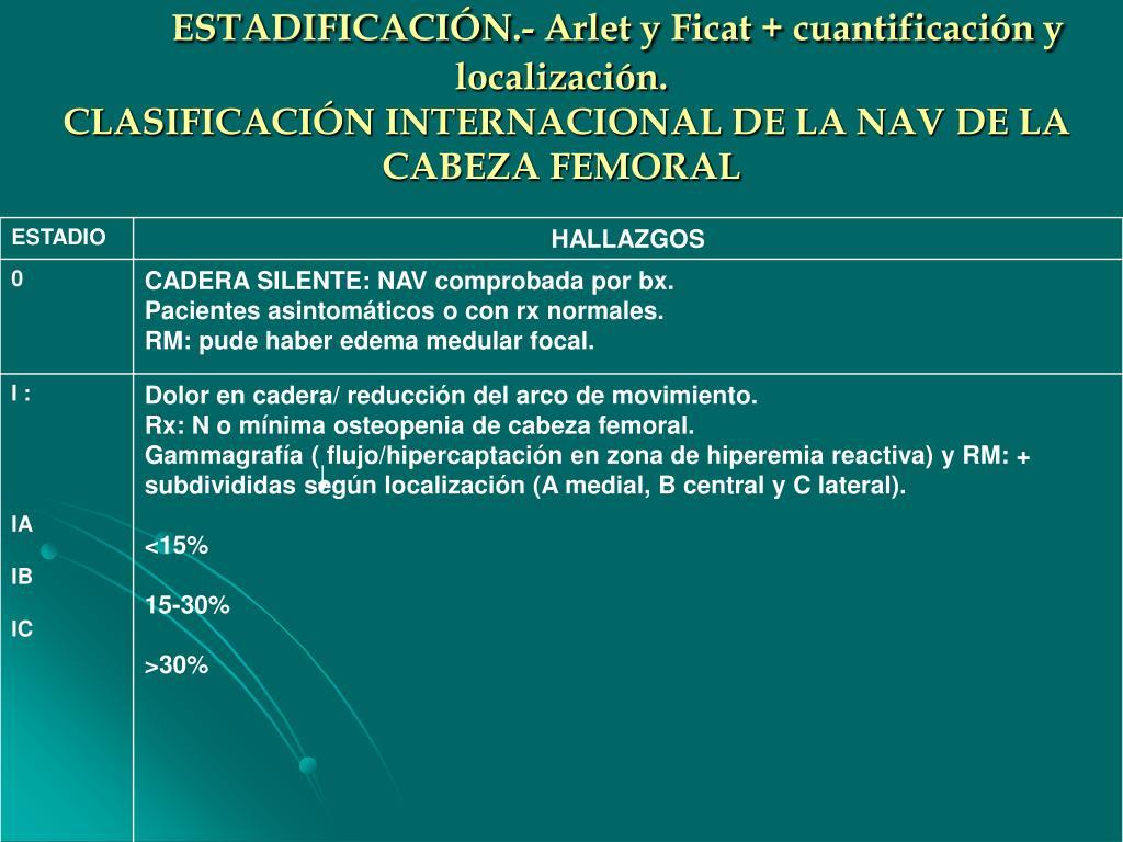 ESTADIFICACIÓN.- Arlet y Ficat + cuantificación y localización.