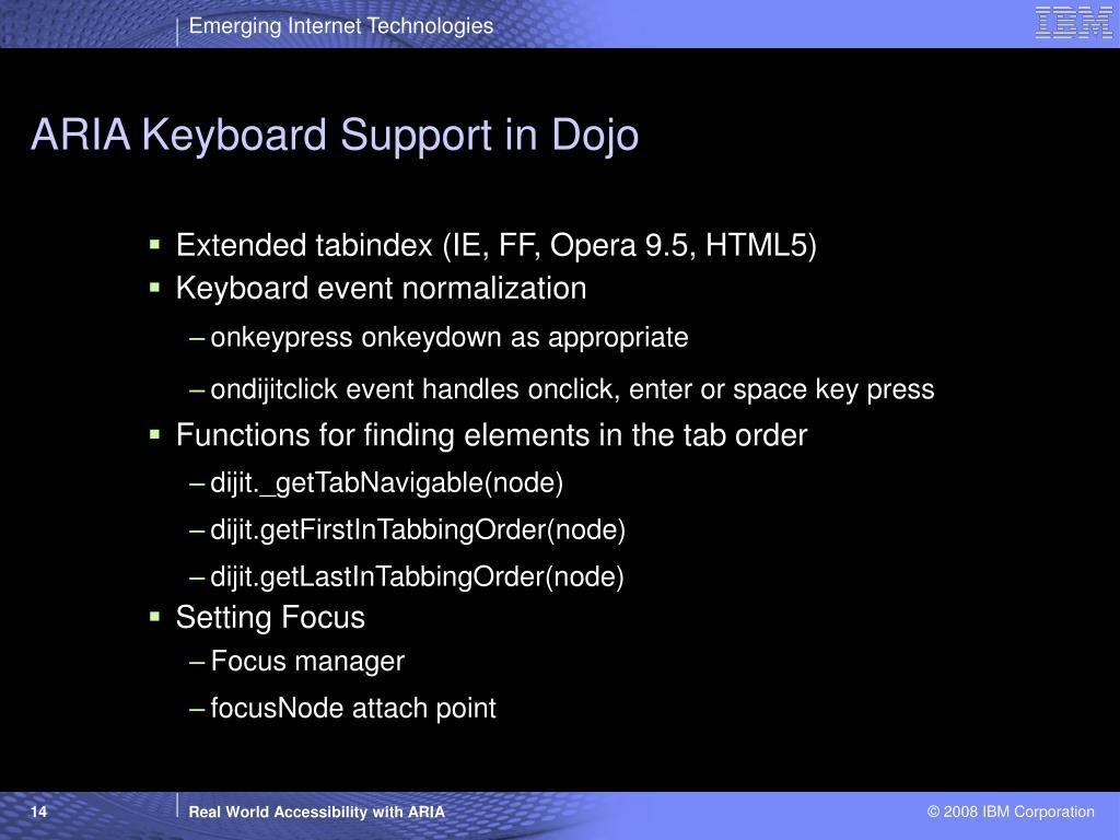 ARIA Keyboard Support in Dojo