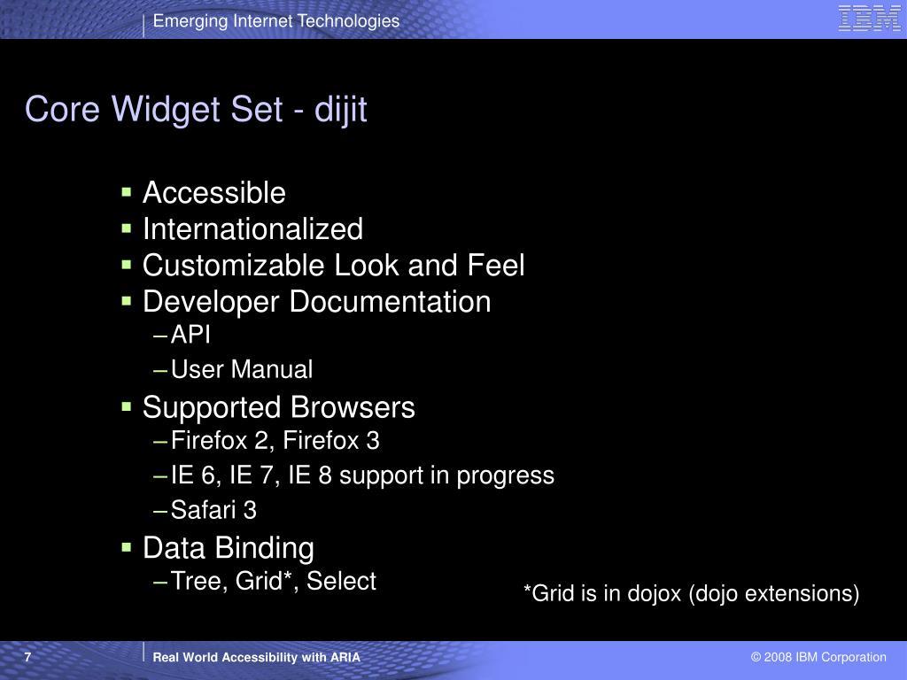 Core Widget Set - dijit