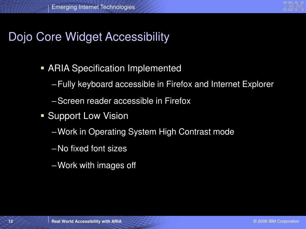 Dojo Core Widget Accessibility