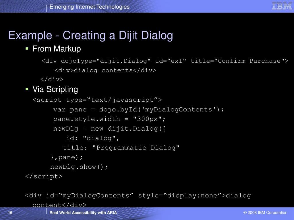 Example - Creating a Dijit Dialog