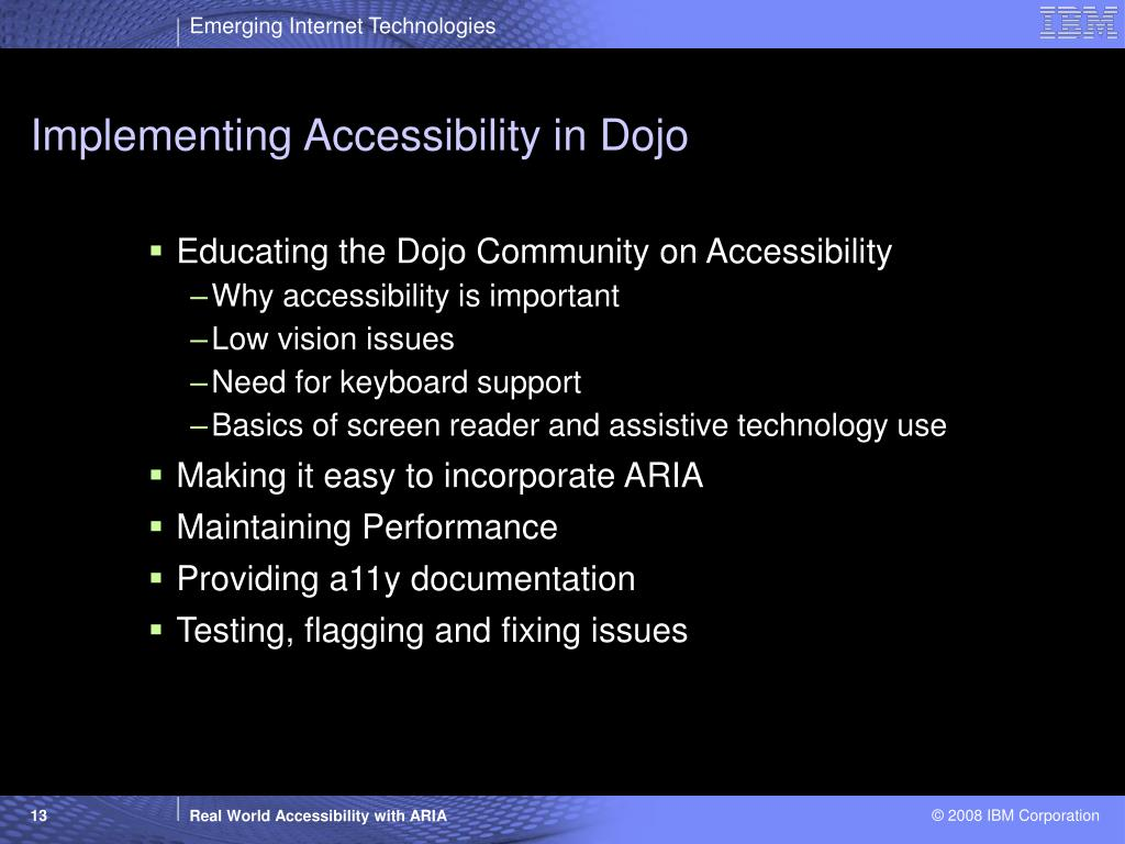 Implementing Accessibility in Dojo